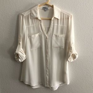 Express white button up